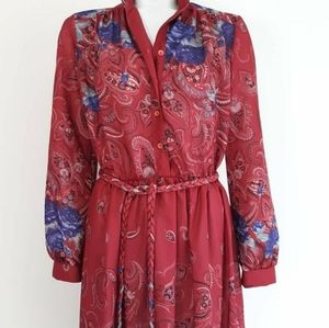 Vintage 70s purple flower poly dress
